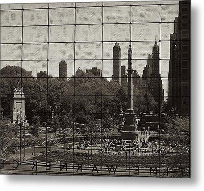 Columbus Circle Through The Time Warner Glass Window Metal Print