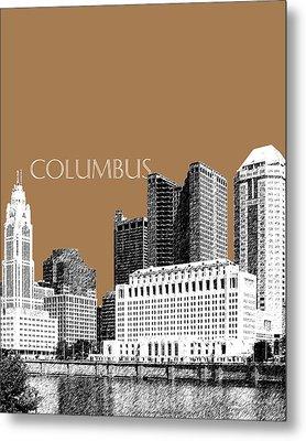 Columbus Skyline - Brown Metal Print by DB Artist