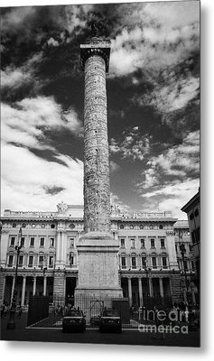Column Of Marcus Aurelius Topped By Bronze Statue Of St Paul In Piazza Colonna Rome Lazio Italy Metal Print by Joe Fox