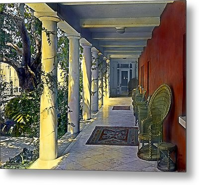 Columns And Chairs Metal Print by Terry Reynoldson