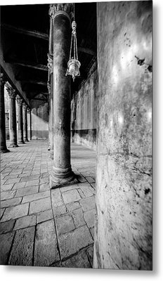 Columns At The Church Of Nativity Black And White Vertical Metal Print by David Morefield