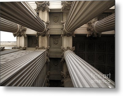 Columns At The National Archives In Washington Dc Metal Print by William Kuta