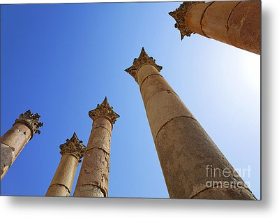 Columns At The Temple Of Artemis At Jerash Jordan Metal Print by Robert Preston