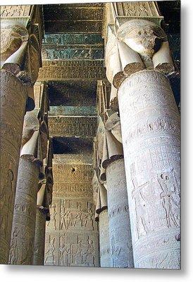 Columns In Temple Of Hathor Near Dendera In Qena-egypt Metal Print