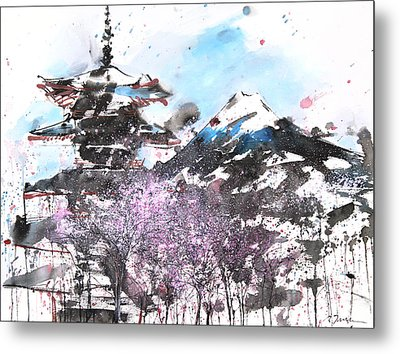 Combination No.32 Spring Time Mt.fuji And Pagoda Metal Print by Sumiyo Toribe