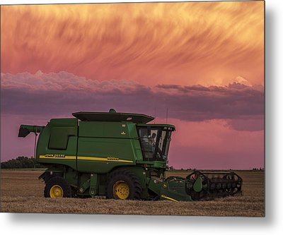 Metal Print featuring the photograph Combine At Sunset by Rob Graham