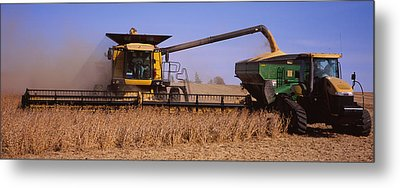 Combine Harvesting Soybeans In A Field Metal Print by Panoramic Images