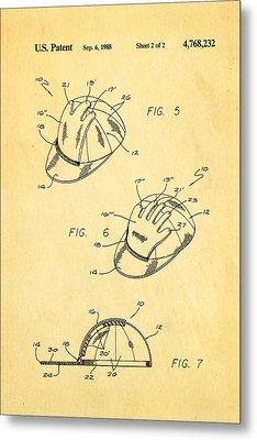 Combined Baseball Glove Cap Patent Art 1988 Metal Print