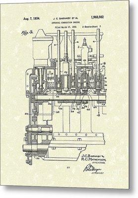 Combustion Engine 1934 Patent Art Metal Print