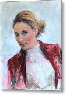 Come A Little Closer Young Woman Portrait Metal Print by Talya Johnson