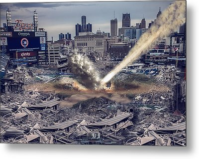 Metal Print featuring the photograph Comerica Park Asteroid by Nicholas  Grunas