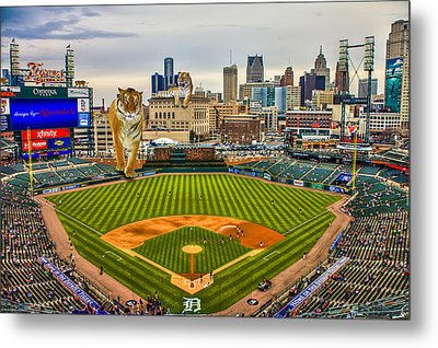 Metal Print featuring the photograph Comerica Park Detroit Mi With The Tigers by Nicholas  Grunas