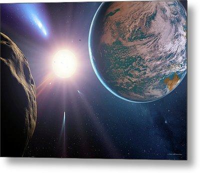 Comet Approaching Earth-like Planet Metal Print