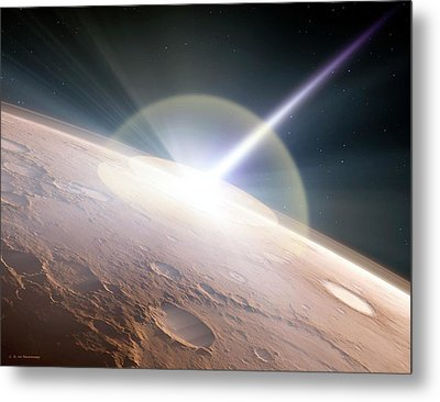 Comet Colliding With Mars Metal Print