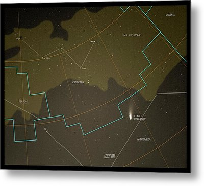 Comet Hale-bopp And Constellations Metal Print