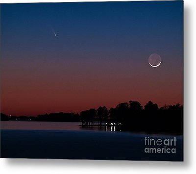 Comet Panstarrs And Crescent Moon Metal Print by Charles Hite