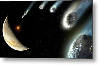 Comet Shoemaker-levy-9 Striking Jupiter Metal Print