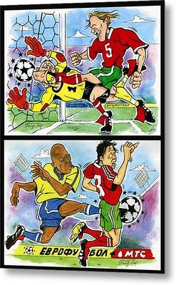 Comics About Eurofootball. First Page. Metal Print by Vitaliy Shcherbak