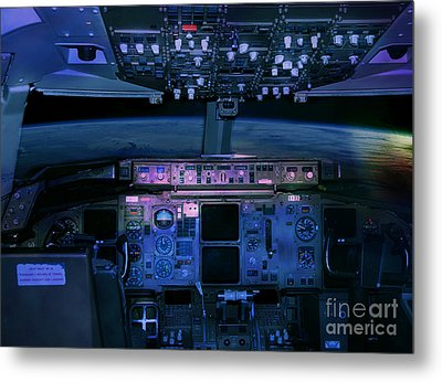 Commercial Airplane Cockpit By Night Metal Print by Gunter Nezhoda