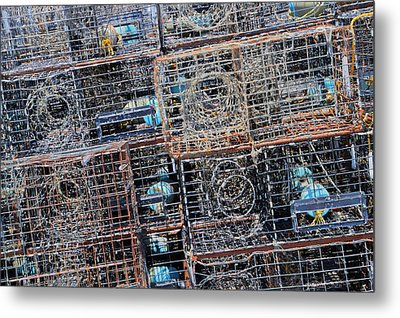 Commercial Fishing Pots Metal Print by Heidi Smith