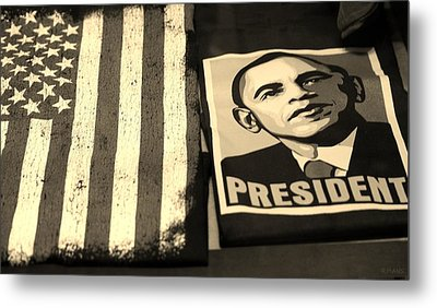 Commercialization Of The President Of The United States In Sepia Metal Print by Rob Hans