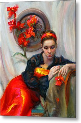 Common Threads - Divine Feminine In Silk Red Dress Metal Print