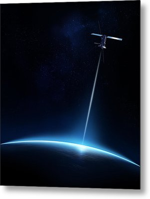 Communication Between Satellite And Earth Metal Print by Johan Swanepoel