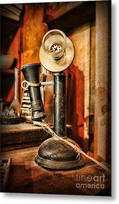 Communication - Candlestick Phone Metal Print by Paul Ward