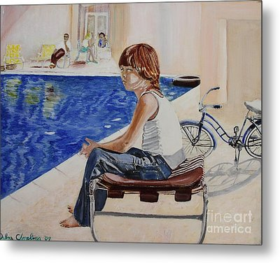 Community Pool Metal Print by Debra Chmelina