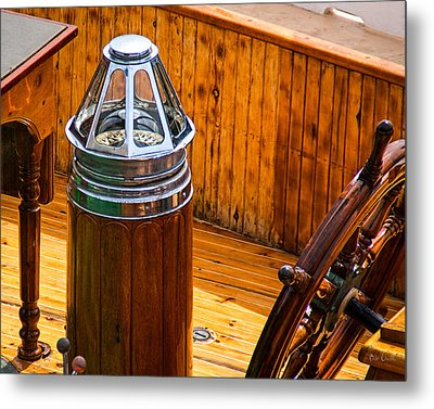 Compass And Bright Work Old Sailboat Metal Print by Bob Orsillo