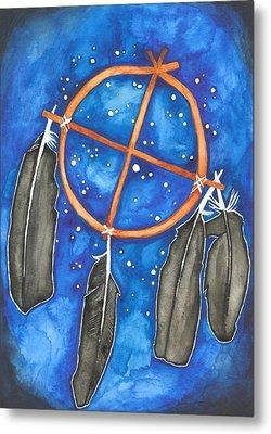 Compass Dreamcatcher Metal Print by Cat Athena Louise