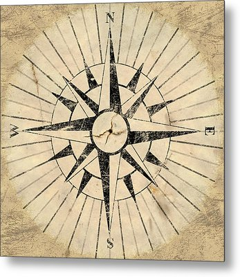 Compass Face Metal Print by Allan Swart