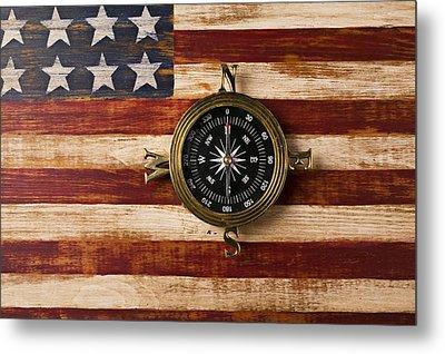 Compass On Wooden Folk Art Flag Metal Print by Garry Gay
