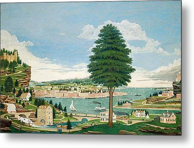 Composite Harbor Scene With Castle Metal Print by Jurgen Frederick Huge