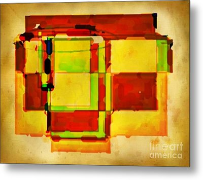 Compsiton In Sepia Browns And Green Metal Print