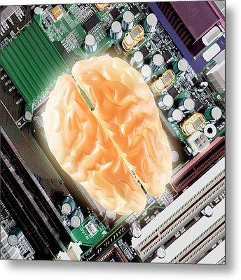 Computer Brain Metal Print