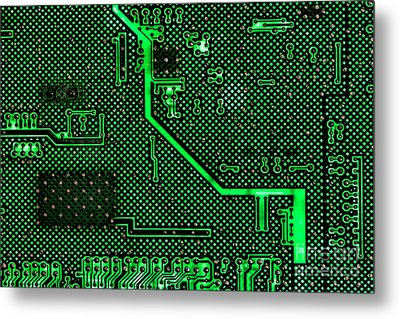 Computer Circuit Board Metal Print by Olivier Le Queinec