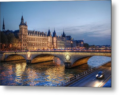 Conciergerie And Pont Napoleon At Twilight Metal Print by Jennifer Ancker