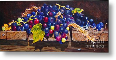 Concord Grapes On A Step Metal Print by Sarah Luginbill