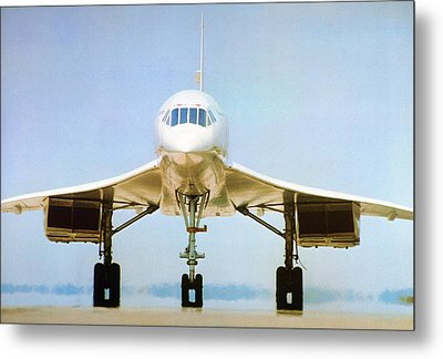 Concorde On Airport Runway Metal Print by Us National Archives