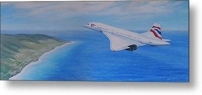 Concorde Over Barbados Metal Print by Elaine Jones