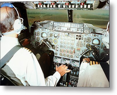 Concorde Pilots In Cockpit Metal Print by Us National Archives
