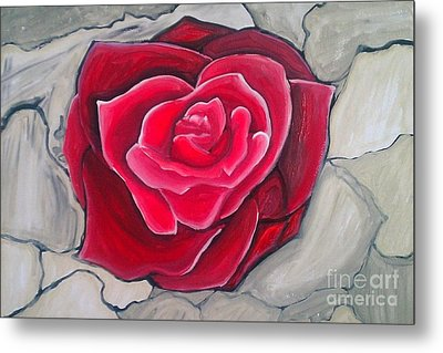 Metal Print featuring the painting Concrete Rose by Marisela Mungia