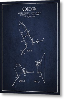 Condom Patent From 1989 - Navy Blue Metal Print by Aged Pixel