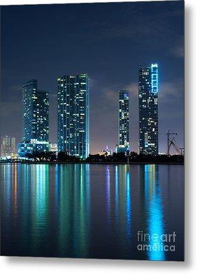 Condominium Buildings In Miami Metal Print by Carsten Reisinger
