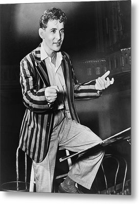 Conductor Leonard Bernstein Metal Print by Fred Palumbo