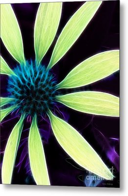 Coneflower Lime Abstract Metal Print by Kathie McCurdy