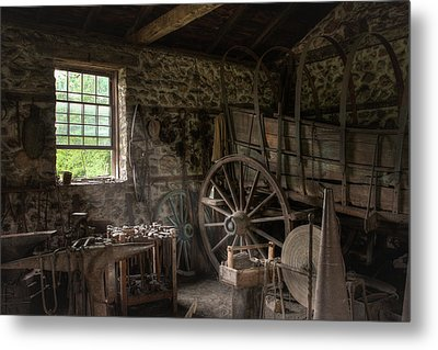 Conestoga Wagon At The Blacksmith - Wagon Repair Metal Print by Gary Heller