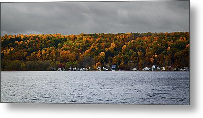 Conesus Lake Autumn Metal Print by Richard Engelbrecht
