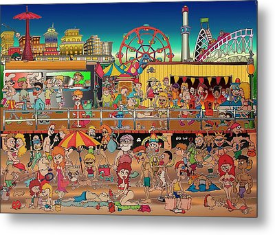 Coney Island Boardwalk Metal Print by Paul Calabrese